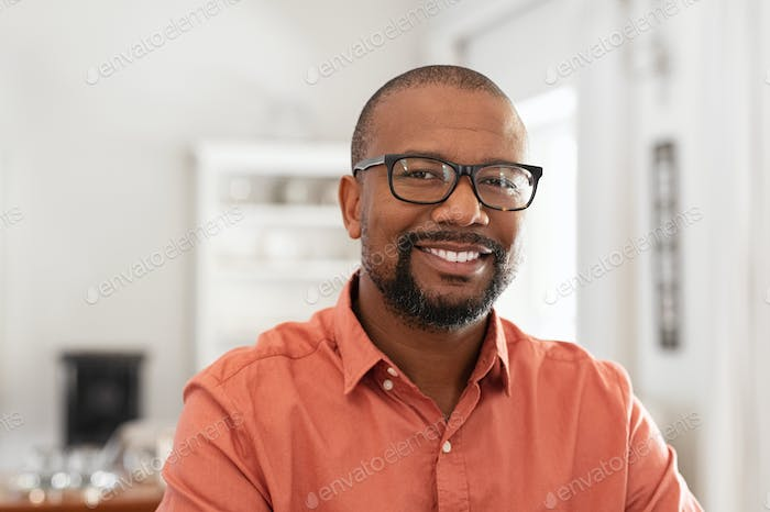 African mature man with spectacles