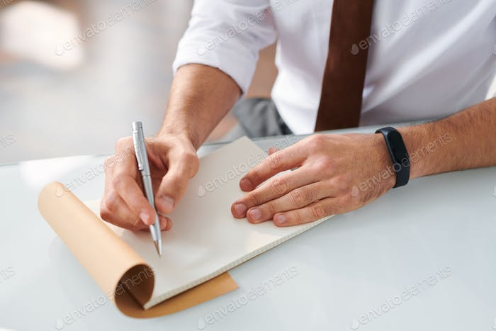 Contemporary designer ready to make notes or sketch on blank page