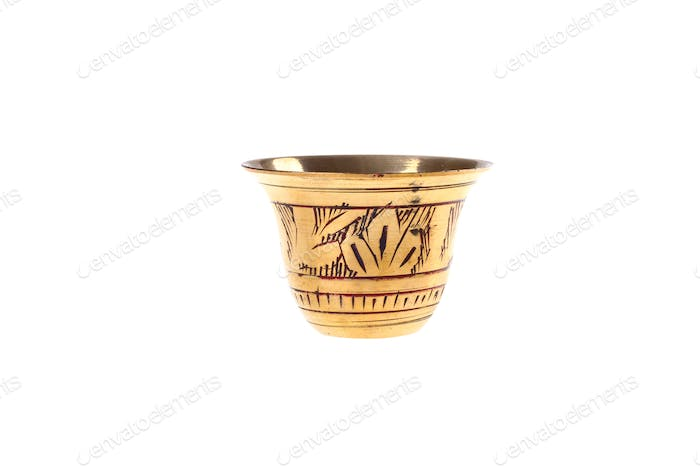 Golden arabian coffee cup isolated