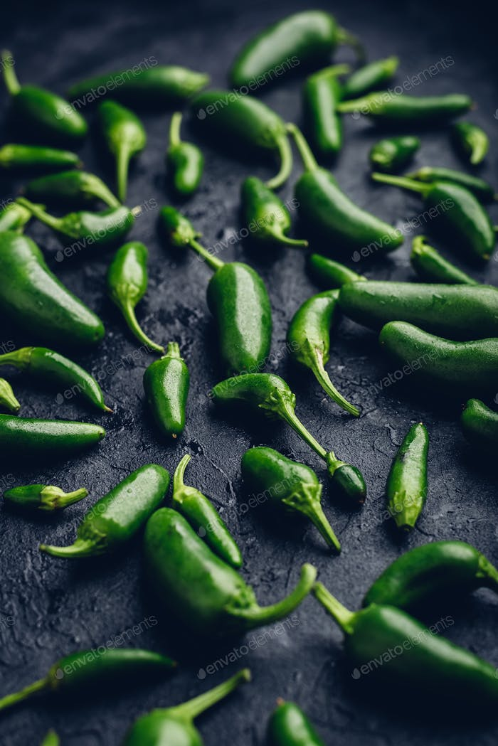 Jalapeno Peppers on Dark Surface