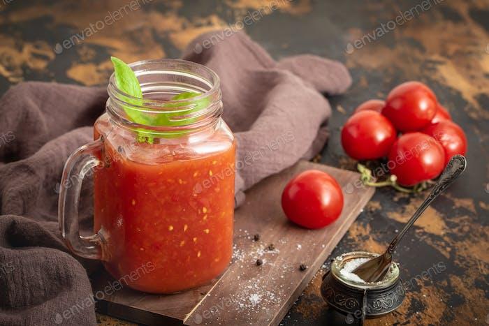 Tomato juice in jar