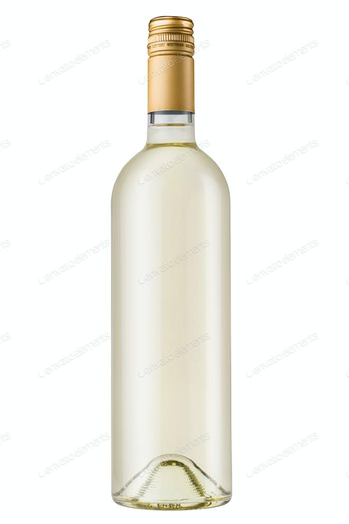white wine bottle with bronze screw cap on white background