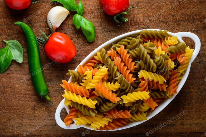 Colored Fusilli Doppia Rigatura Pasta with Cooking Ingredients