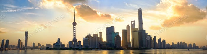 Shanghai sunrise panorama