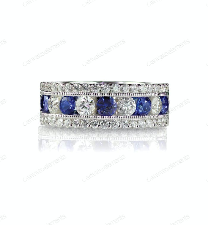 Sapphire and diamond wedding anniversary band ring