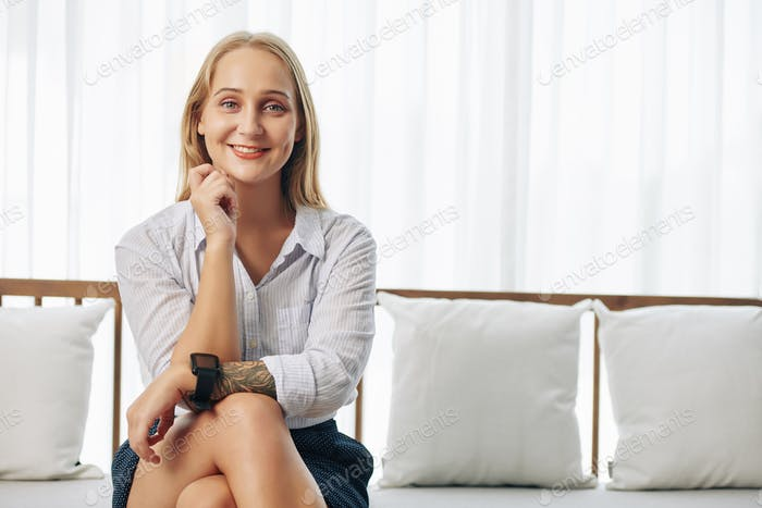Attractive smiling blond woman