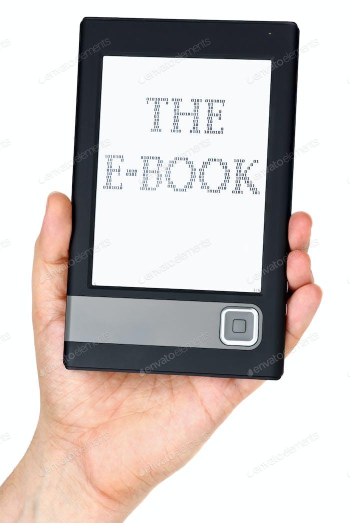 Modern ebook reader in hand
