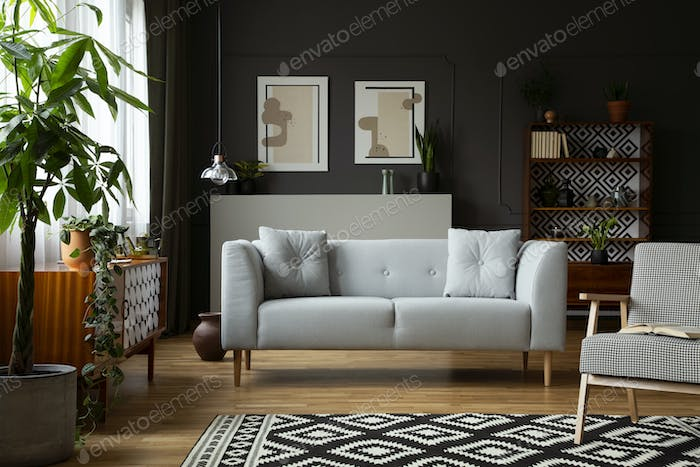 Real photo of dark grey living room interior with posters and mo