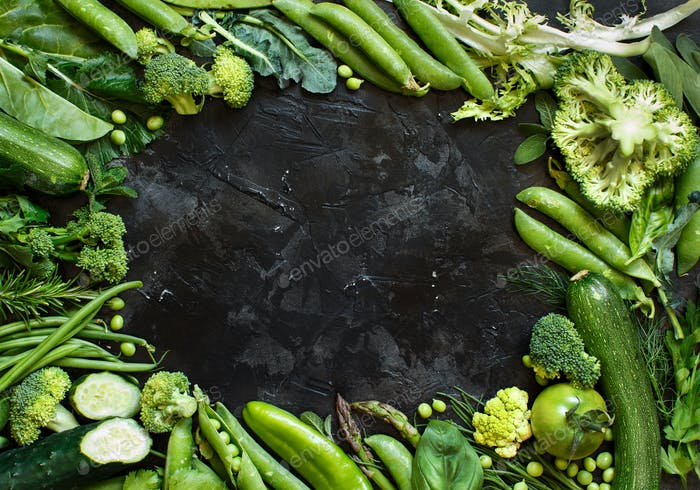 Green vegetables frame