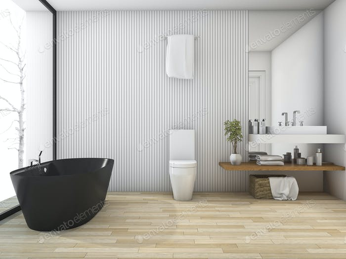3d rendering white wood bathroom near window in winter