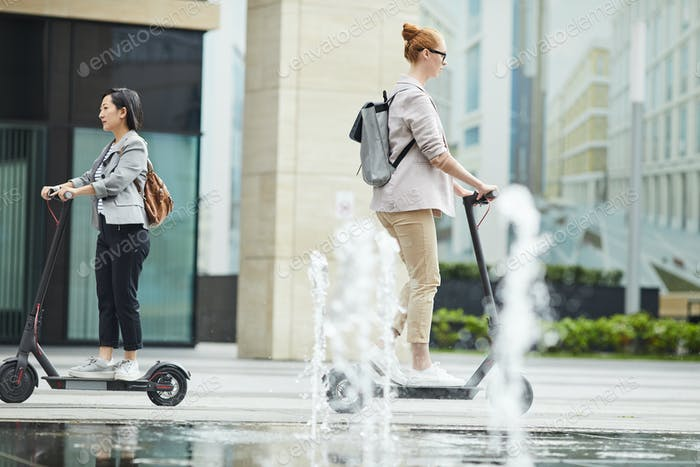 Modern People Commuting in City