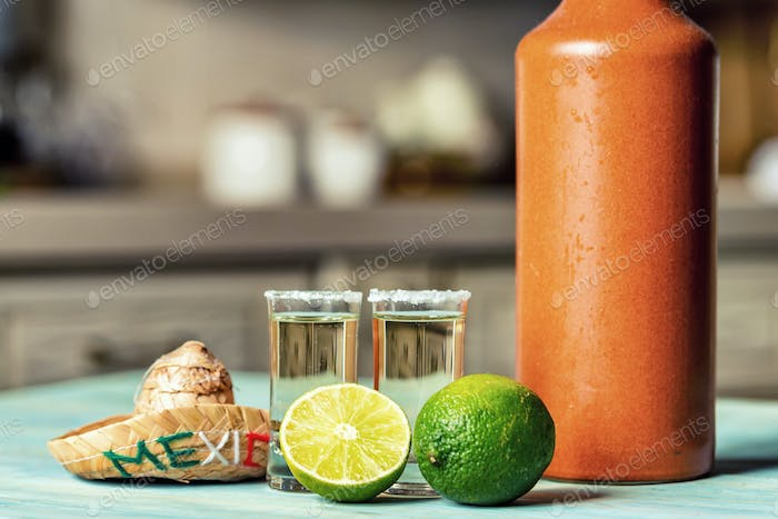 Tequila with lime and salt, selective focus