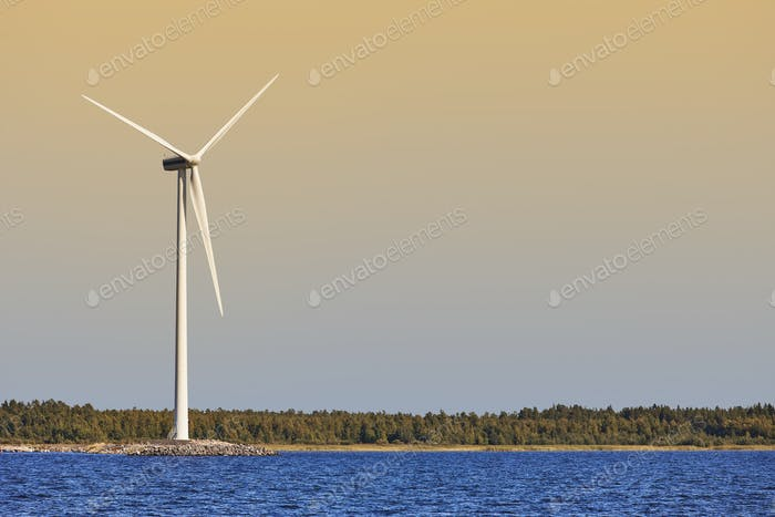 Wind turbine in the baltic sea. Renewable green energy. Finland