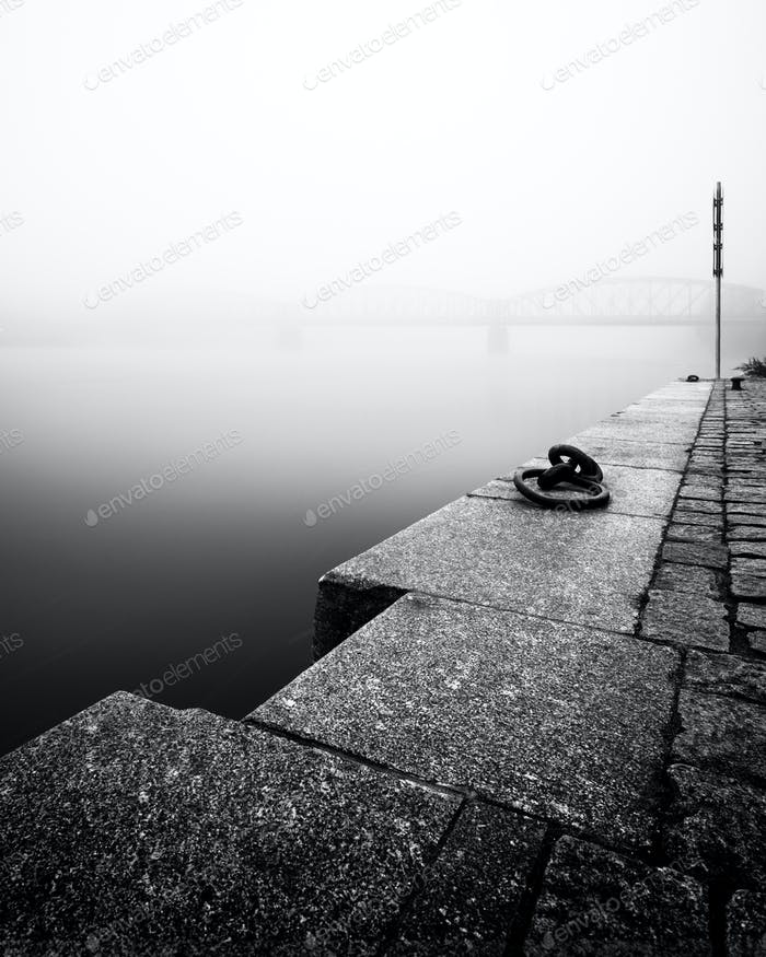 Foggy autumn mood at Vltava river. Prague, Czech republic