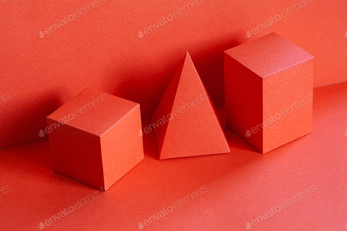 Living coral trend color geometrical figures still life composition