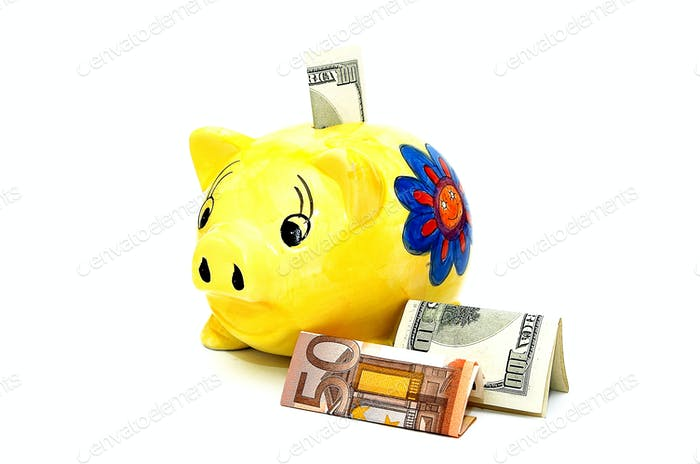 Currency and piggy.