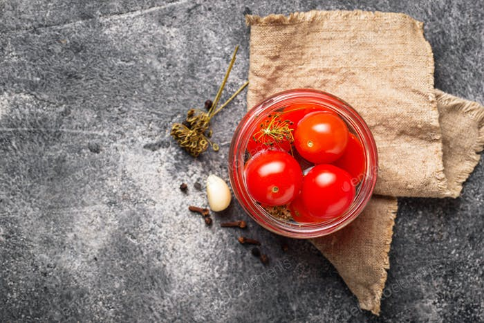 Homemade pickled cherry tomato