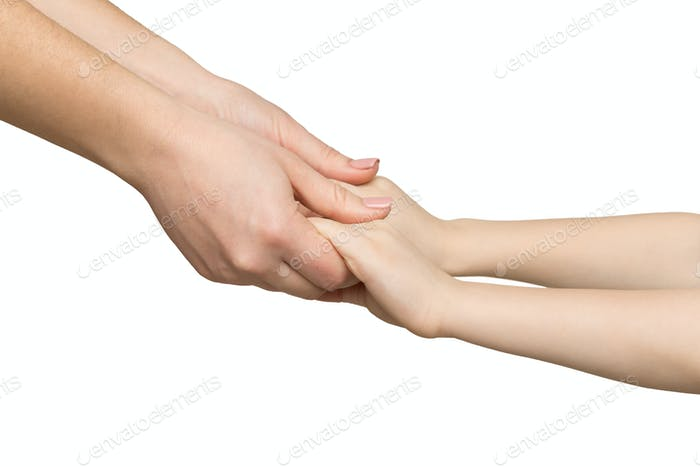 Mother holding hands of her child isolated