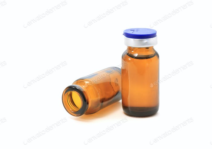 glass bottles and medicine