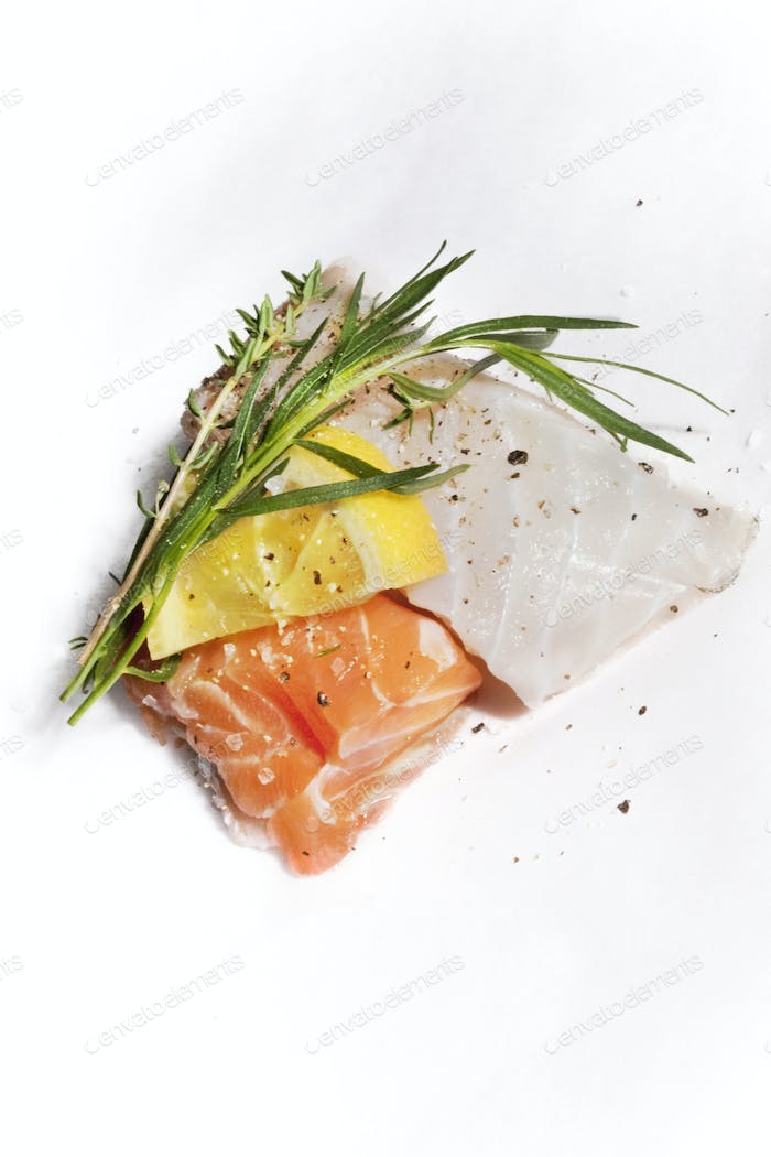 Cod and salmon fillets