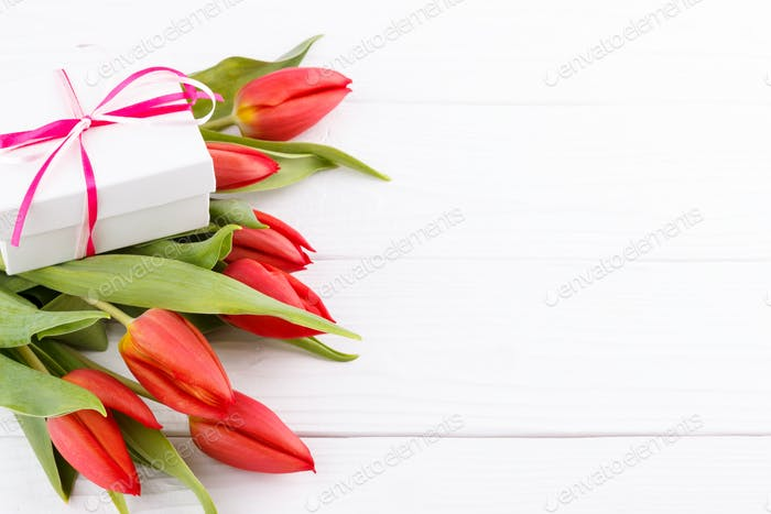 Red tulips and gift box