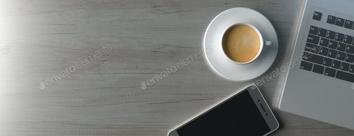 Computer laptop and smartphone on office desk, banner. 3d illustration