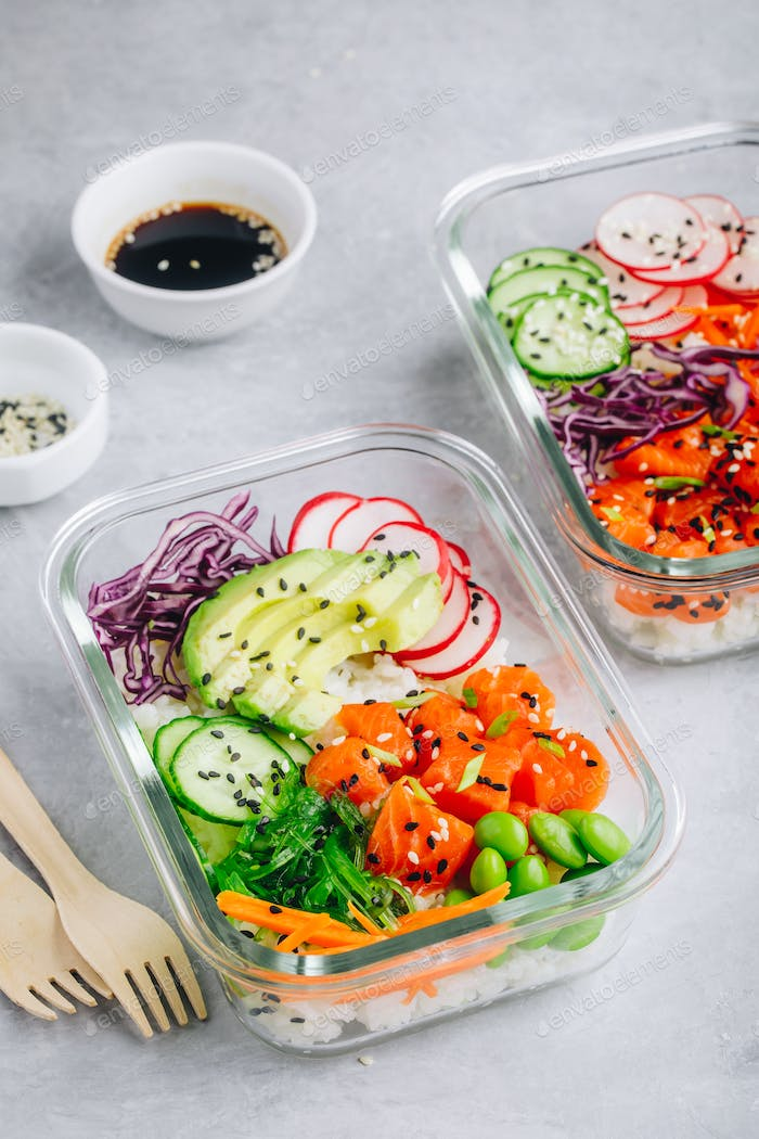 Poke meal prep containers with salmon, rice, radish, cucumber and avocado.