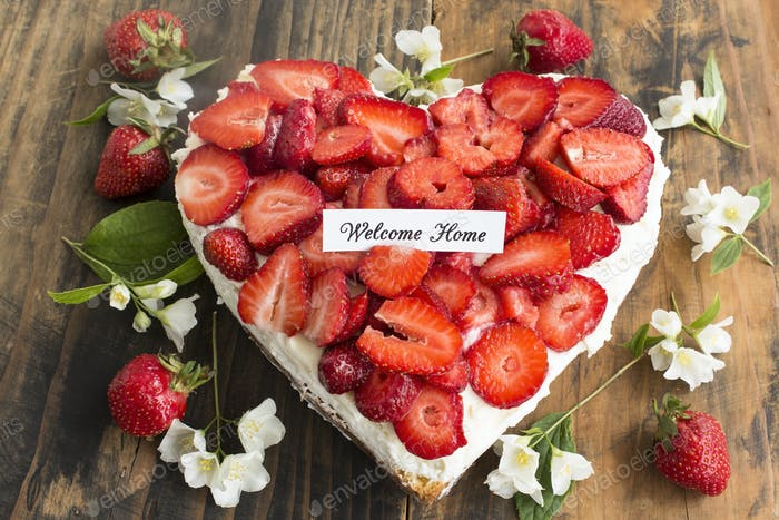 Welcome Home Card with Heart Cheesecake with Strawberries