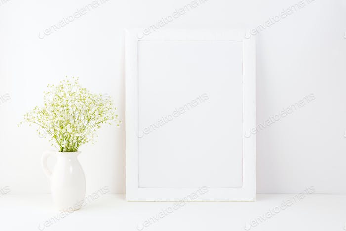 White frame mockup with Rue Anemone flowers