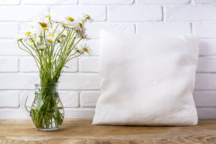 Placeit – Pillow mockup with daisy wildflowers