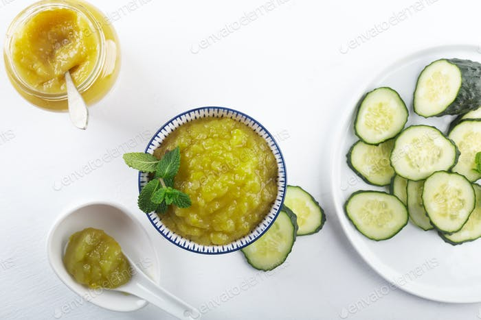 A delicious healthy breakfast with homemade cucumber jam and its ingredients