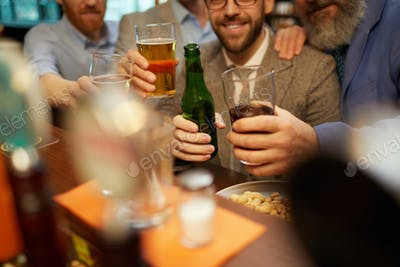 Men drinking alcohol drinks