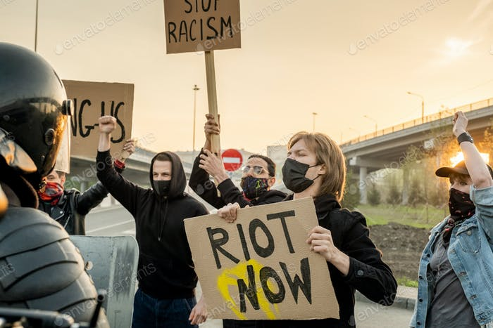 Group of protesters on road