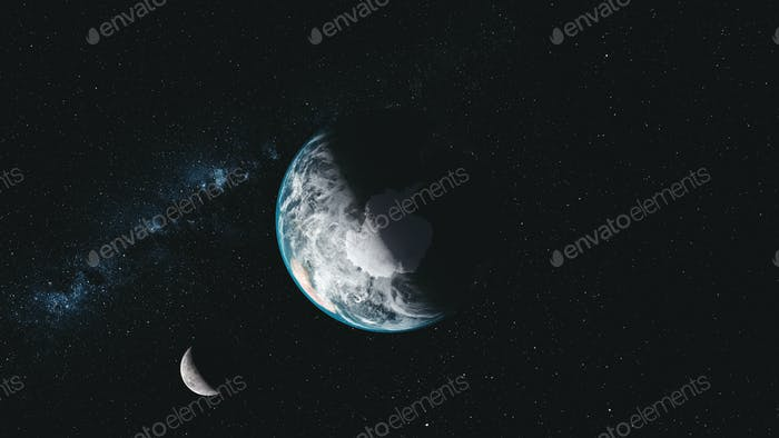 Spin earth moon orbit milky way satellite view