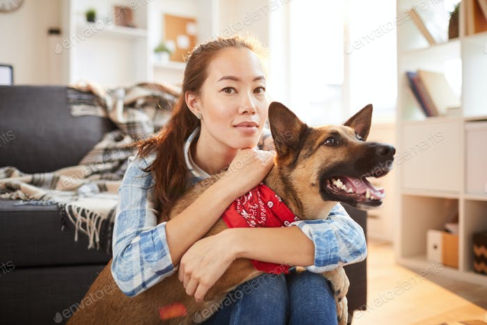 Asian Woman Posing with Dog