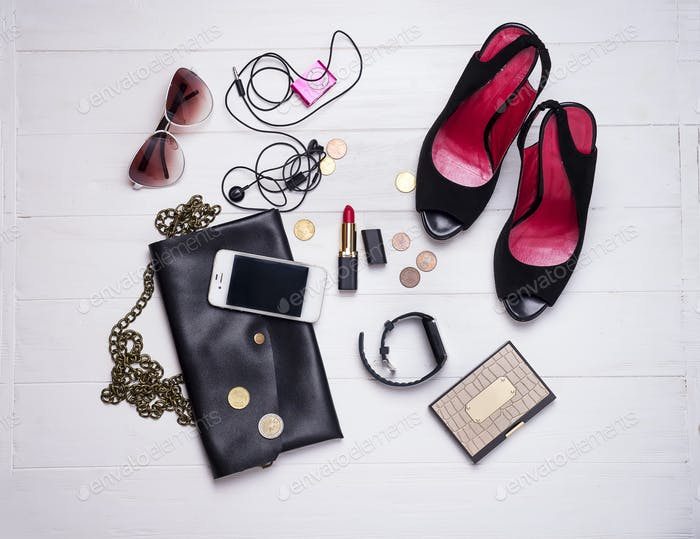 collection of women's set of fashion accessories and cosmetics