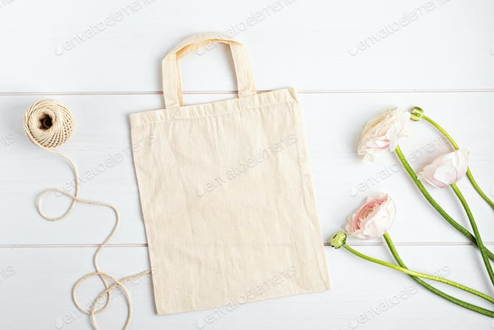Cotton tote bag mockup. Template for branding, logo, advertizing