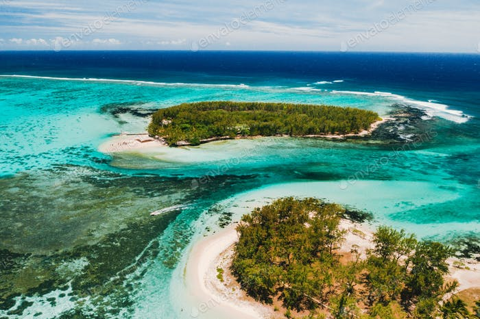 Aerial photography of the East coast of the island of Mauritius.