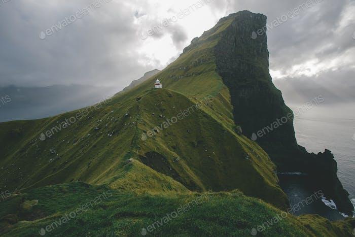 Lighthouse on cliffs in Faroe Islands