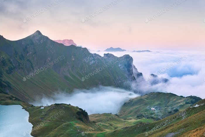 fog in mountains at sunrise