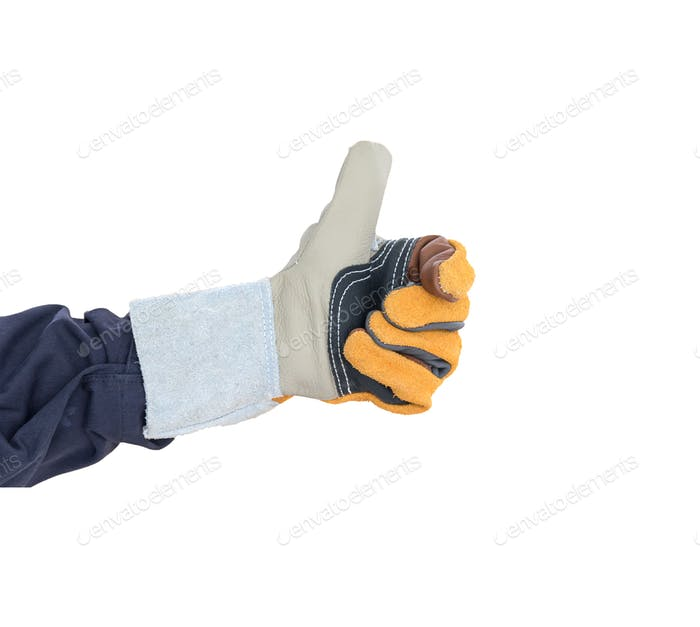 Hand with the thump up in rough leather glove on white