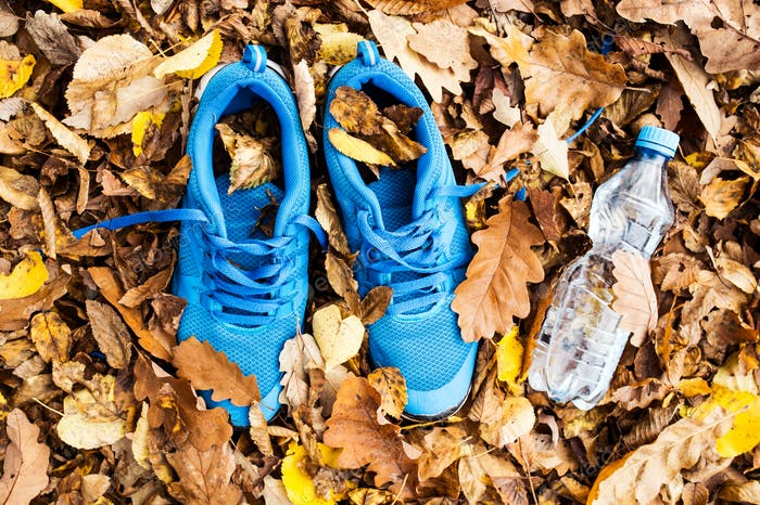 Trainers and water bottle on colorful leaves on the ground.