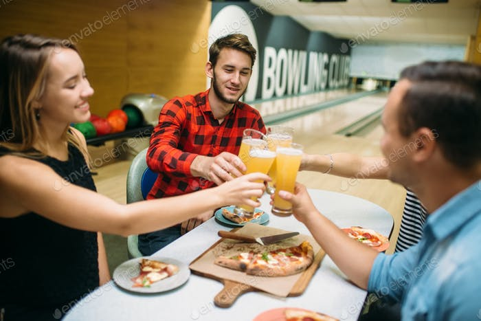 Bowling team celebrate victory in the competition