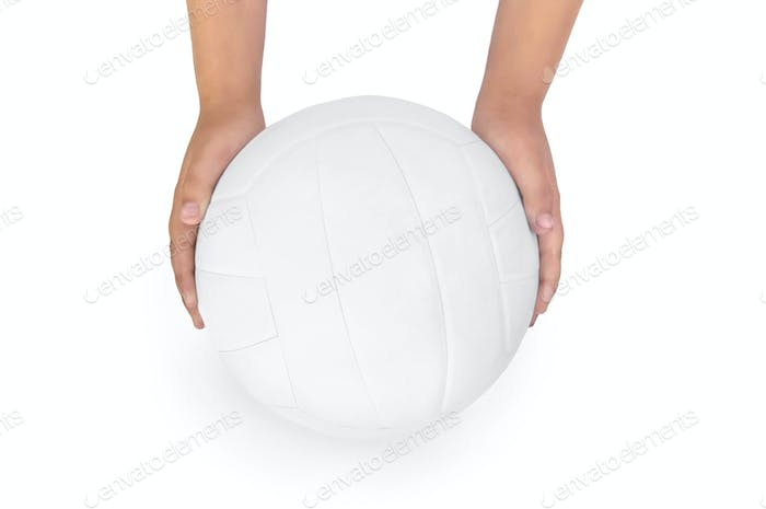 Volleyball in the hands of