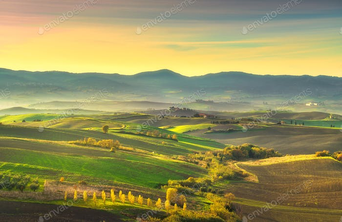 Tuscany countryside misty panorama, rolling hills and green fiel