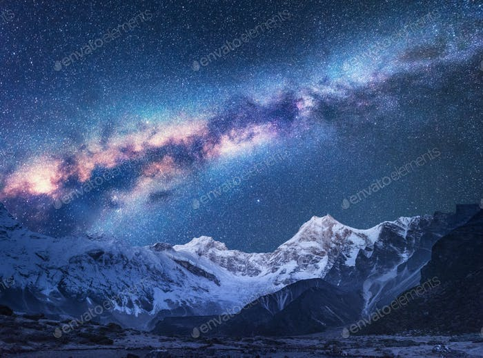 Space. Night landscapw with Milky Way and mountains