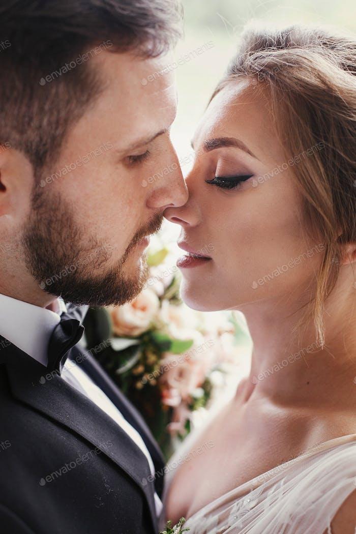 Romantic moments of newlyweds