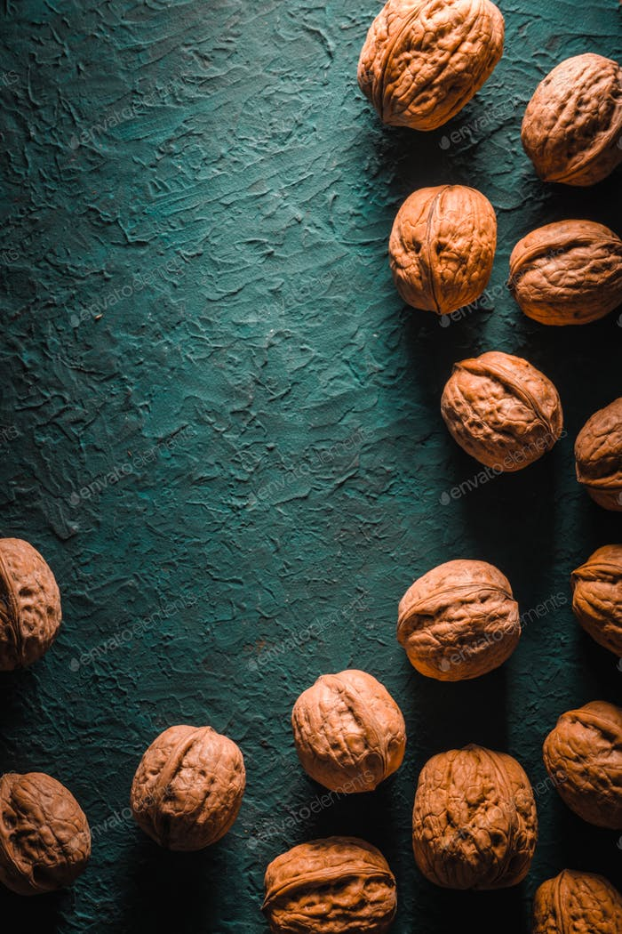 Group of walnuts on a turquoise background on the right