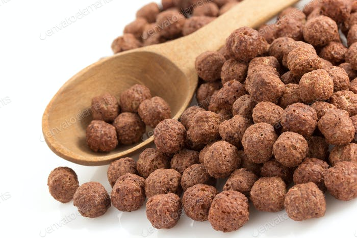 cereal chocolate balls on white