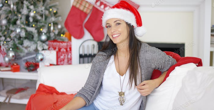 Gorgeous friendly woman celebrating Christmas